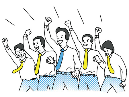 Vector el carácter del ejemplo del hombre de negocios en trabajo en equipo, puño cerrado riasing en el aire con la expresión de la felicidad que anima. Éxito, ganador, feliz, celebración, concepto de motivación. Esquema, lineal, diseño de línea delgada.