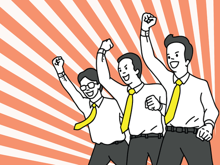 Caractère d'illustration vectorielle d'homme d'affaires, employé de bureau dans le travail d'équipe, poing fermé soulevant dans l'air avec l'expression du bonheur acclamant. Succès, gagnant, heureux, célébration, concept de motivation. Contour, linéaire, conception d'art de ligne mince. Vecteurs