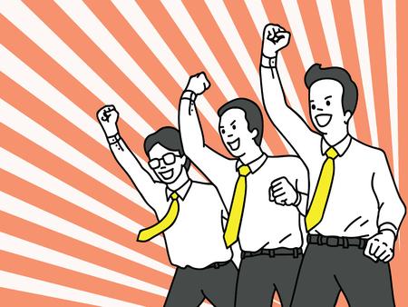 Charakter ilustracja wektorowa biznesmen, pracownik biurowy w pracy zespołowej, wzniesienie zaciśniętej pięści w powietrze z wiwatującym wyrazem szczęścia. Sukces, wygrana, szczęśliwa, uroczystość, koncepcja motywacji. Zarys, liniowy, cienki projekt grafiki liniowej. Ilustracje wektorowe