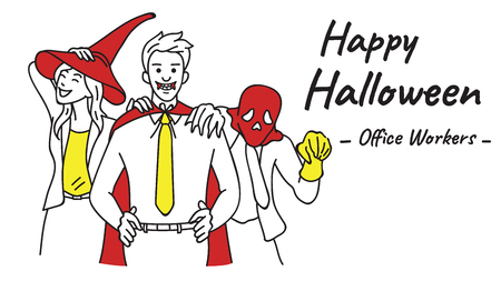 Office workers, businessman and businesswoman, wearing Halloween costume to celebrate Happy Halloween night party at office. Outline, linear, thin line art, hand drawn sketch design.  Illustration