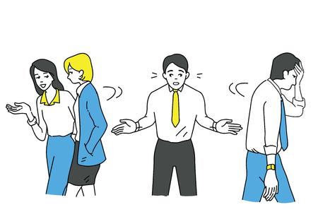 Funny vector illustration character of boring businessman who try to talk with other friends but no one want to listening to him becuase of his boring manner, or having relationship problem with colleague.