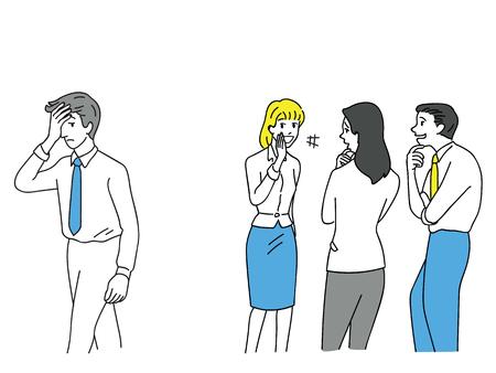Grupo de empresário e mulher, trabalhadores de escritório, tiranizando um homem infeliz no local de trabalho. Contorno, linear, arte de linha fina, doodle, design de esboço mão desenhada.