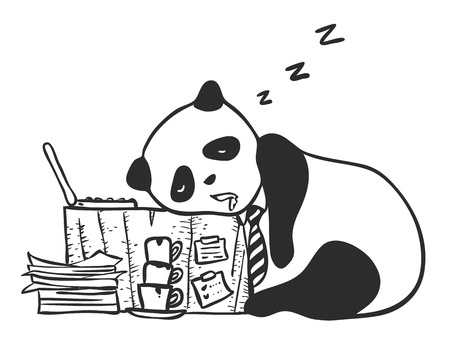 Cute character of tired panda sleeping on his working desk with laptop, pile of coffee cup, stacked paper work. Funny illustration represent to people habit in hard working and tired. Illustration