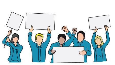 Vector illustration character of various people, adult man and woman, businesspeople, holding blank banner in concept of protest. Outline, linear, thin line art, hand draw sketch.