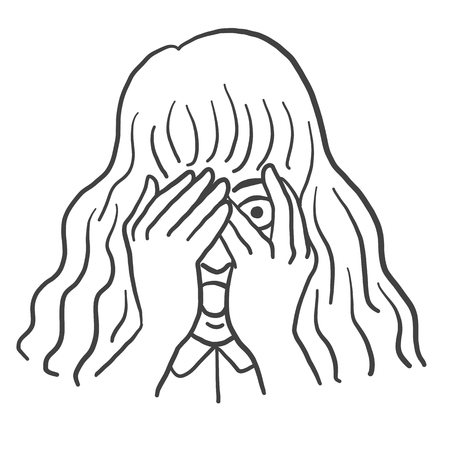Young girl close her eyes and face, peeking through her fingers with afraid and scared expression. Outline, thin line art, linear, contour, hand drawn sketch design, black and white style.