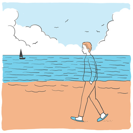 Vector illustration abstract background of young man walking relaxing on the beach, which his t-shirt is harmony with sea or ocean, and trousers are harmony with brown sand.