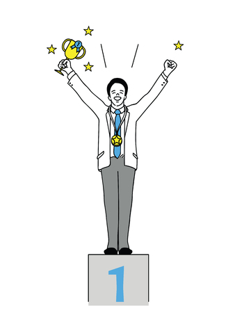 Vector illustration full length character of businessman, winner who hold trophy in the first place, standing on podium. Outline, linear, thin line art, hand drawn sketch design, simple style.