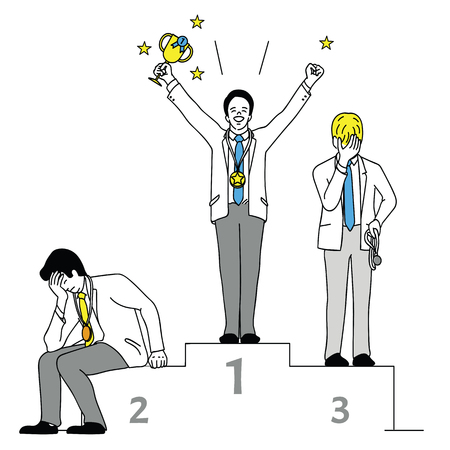 Vector illustration chracter of businessman, winner who hold trophy in the first place and loser. Outline, linear, thin line art, hand drawn sketch design, simple style.