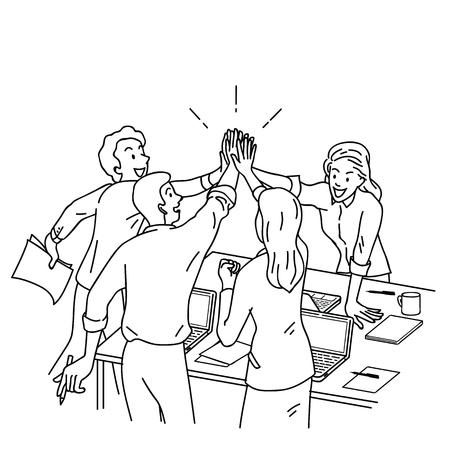 Gruppe Wirtschaftler, Mann und Frau, Hoch fünf im Geschäftskonzept von Unternehmens, Erfolg, Glückwunsch gebend. Entwurf, lineare, dünne Linie Kunst, Hand gezeichnetes Skizzendesign. Vektorgrafik