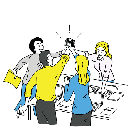 Group of businesspeople, man and woman, giving high five in business concept of corporate, success, congratulation. Outline, linear, thin line art, hand drawn sketch design, simple color style.