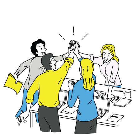 Grupo de empresarios, hombre y mujer, dando cinco altos en el concepto de negocio corporativo, éxito, felicitación. Esquema, lineal, arte de línea fina, diseño boceto dibujado a mano, estilo de color simple. Ilustración de vector