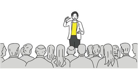 Uomo creativo che dà un discorso sul palco al pubblico nella sala conferenze. Contorno, linea sottile arte, lineare, doodle, fumetto, disegno di schizzo disegnato a mano. Vettoriali
