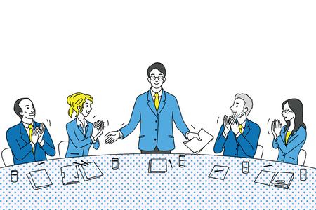 Los hombres de negocios de liderazgo joven se sienten orgullosos, reciben aplausos y satisfacción de colegas, amigos, compañeros, equipo al final de la conferencia. Carácter diverso y multiétnico. Esquema, lineal, arte de línea fina, diseño boceto dibujado a mano. Ilustración de vector
