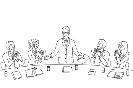 Young leadership businesssman feel proud, get applauding and satisfaction from colleague, friends, parters, team at the end of conference. Diverse, multi-ethnic character. Outline, linear, black and white, hand drawn sketch design.