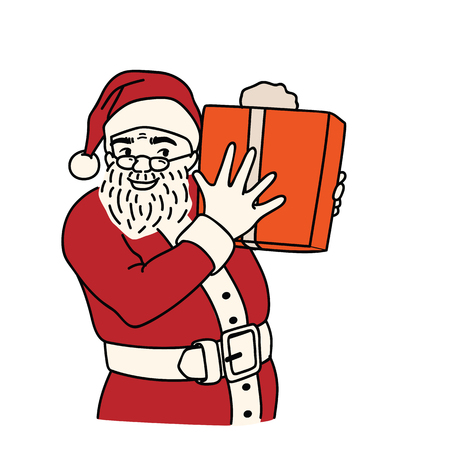 Vector illustration character of happy and smiling santa claus showing gift box in hands. Outline, linear, thin line art, hand draw sketch style. Illustration