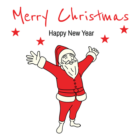 Vector illustration full length character of Christmas Santa Claus raising and stretching hands, presenting Merry Christmas, Happy New Year text. Outline, linear, thin line art, hand drawn sketch design, doodle, cartoon.