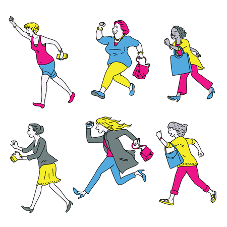 Full length character of women running forward, in happy, smiling and joyful expression, concept of going shopping, fashion, big sale promotion. Diversity, multi-ethnic.
