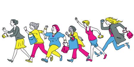 Carácter integral del grupo de mujeres corriendo hacia adelante, con el objetivo de una promoción de venta súper grande, concepto de ir de compras. Diversidad, multiétnica.