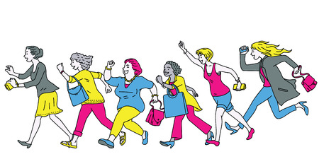 Full length character of women group running forward, aiming to super big sale promotion, concept of going shopping. Diversity, multi-ethnic.  Illustration
