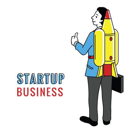 Businessman giving thumb up sign, holding briefcase, with rocket ship in concept of stratup business. Outline, thin line art, linear, doodle, hand drawn sketch. Çizim