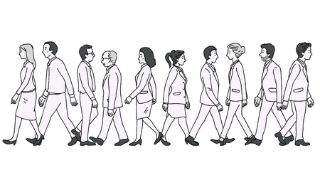 Vector illustration various character of full length businesspeople, man and woman, walking as pedestrian across street, diversity, multi-ethnic, side view. Outline, linear, thin line art, doodle, hand drawn sketch design.   Çizim
