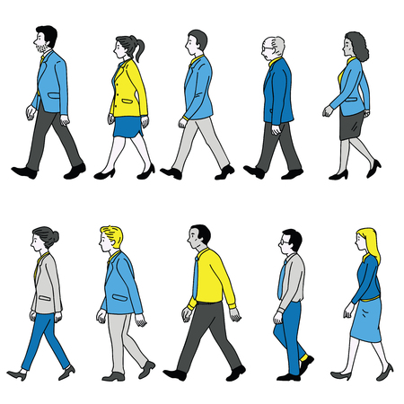 Vector illustration various character of full length businesspeople, man and woman, walking, diversity, multi-ethnic, side view. Outline, linear, thin line art, doodle, hand drawn sketch design.