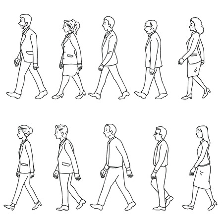 Vector illustration various character of full length businesspeople, man and woman, walking, diversity, multi-ethnic, side view. Outline, linear, doodle, hand drawn sketch, simple black and white line art.