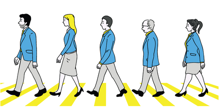 Vector illustration various character, full length of teamwork, businesspeople, man and woman, walking crossing zebra street, side view. Outline, linear, thin line art, doodle, hand drawn sketch design.