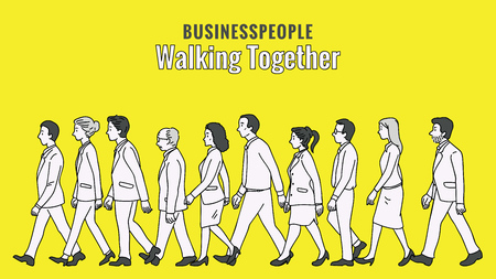 Vector illustration full length character of businesspeople, man and woman, walking together in the same direction, diversity, multi-ethnic, side view. Outline, linear, thin line art, doodle, hand drawn sketch design.   Illustration