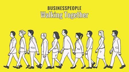 Vector illustratie volledige lengte karakter van ondernemers, man en vrouw, samen wandelen in dezelfde richting, diversiteit, multi-etnisch, zijaanzicht. Overzicht, lineaire, dunne lijntekeningen, doodle, hand getrokken schetsontwerp.