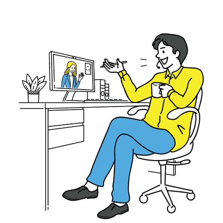 Businessman sitting at his desk in office, live online chatting and working with partner or colleague via computer screen, in relax and comfatable manner. Outline, linear, hand drawn sketch design.