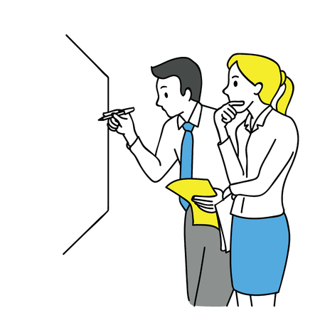 Businessman and woman, writing on white board, thinking and discussing, business concept in partnership, teamwork, coworkers, corporate. Outline, linear, thin line art, hand drawn sketch design. Иллюстрация