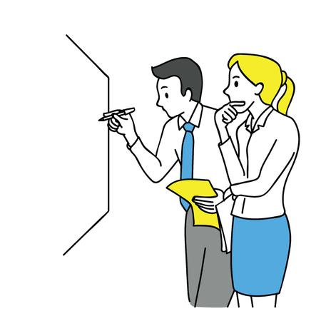 Homem de negócios e mulher, escrevendo na placa branca, pensando e discutindo, conceito de negócio em parceria, trabalho em equipe, colegas de trabalho, corporativo. Contorno, linear, arte de linha fina, mão desenhada desenho de esboço.