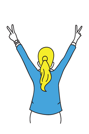 Vector illustration character of businesswoman turn back, raised hands, showing two fingers, V sign victory concept, in the air. Outline, thin line art, hand drawn sketch design.