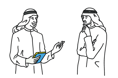 Vector illustration portrait  of two Arabian businessman, standing, talking, discussing, having business communication. Outline, linear, thin line art, hand drawn sketch design, simple style.