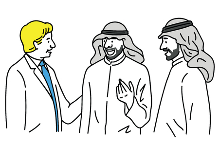 Caucasian businessman talking, greeting, making corporation with arabian businesspeople. Vector illustration character in multi-ethnic, multiculture, Middle-Eastern. Outline, linear, hand drawn sketch.