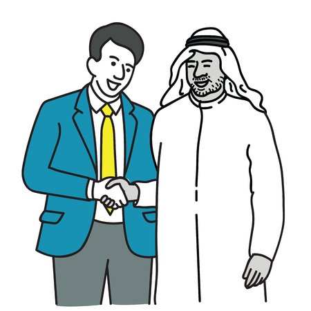 Vector illustration character of suit man politician making handshake with Arabian businessman, in concept of global cooperation, political relationship. Outline, linear, hand drawn sketch design, simple style.