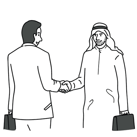 Businessman do shanking hands with Arab, Arabian, or Middle-Eastern businessman. Outline, linear, thin line art, doodle, hand drawn sketch design, simple style. Çizim