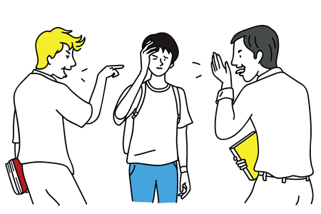 Two school teen students bullying another at school. Vector illustration character, outline, linear, thin line art, hand drawn sketch design, simple style.
