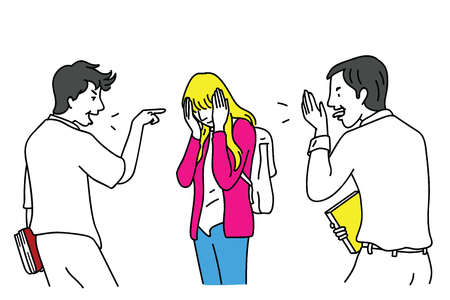Two school teen students bullying a girl who cover her face with hands. Vector illustration character, outline, linear, thin line art, hand drawn sketch design, simple style.