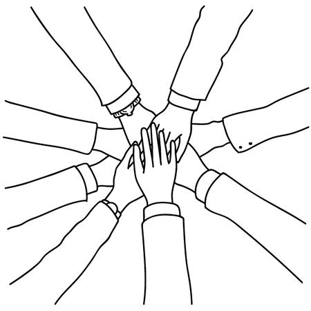 Vector illustratie van mensen uit het bedrijfsleven de handen ineen, samenstellen in concept van samenwerking, samenwerking, teamwerk. Bovenaanzicht, close-up, overzicht, lineaire, dunne lijntekeningen, handgetekende schets. Vector Illustratie