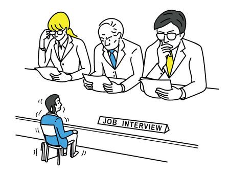 Lustige Vektorillustration des jungen Mannes, eines Bewerbers, fühlen sich nervös und selbst sehr klein während des Vorstellungsgesprächs, Geschäftskonzept von gestresst, besorgt; nervös bei der Arbeitssuche.