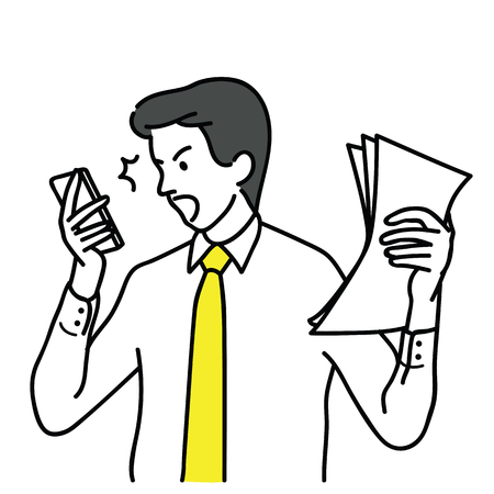 Businessman, office worker, shocked and surprised with smartphone, having problem and trouble. Outline, linear, thin line art, hand drawn sketch design, simple style. Çizim