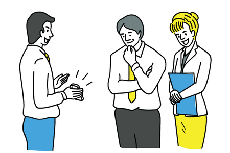 Young office worker holding new smartphone, showing screen to his partner, colleagues, friends. Outline, thin line art, hand drawn sketch design, simple style.