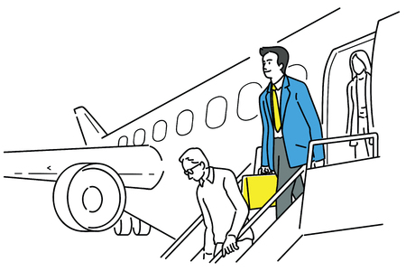 Happy and smiling businessman, walking and stepping down, getting out of airplane after just arrived at destination airport. Outline, linear, thin line art, hand drawn sketch design, simple style.