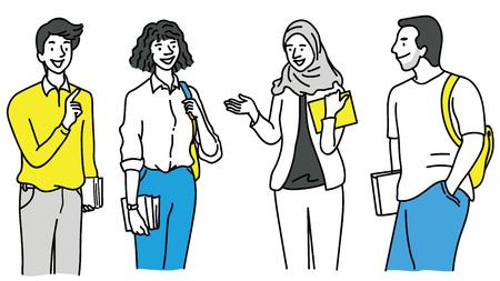 Vector illustratie verschillende karakter van jonge verschillende studenten praten, diversiteit, multi-etnisch, Afrikaans, Aziatisch, moslim en Kaukasisch. Overzicht, lineaire, handgetekende schets.