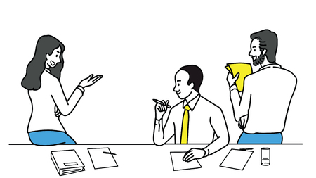 Vector illustration group of businesspeople, man and woman, talking, sharing idea, finding solution, solving problem, discussion. Multi-ethnic, diverse, various pose. Linear thin line art style.