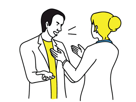 Businesswoman try to calm down angry businessman, who is in quarreling, arguing, in rage. Outline, linear, thin line art, hand drawn sketch. Illustration