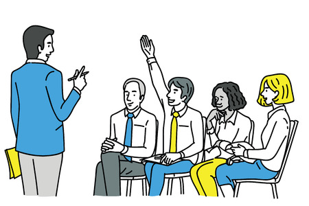 Young confident businessman, raising hand to ask question at workshop or training. Diversity, multi-ethnic. Outline, linear, thin line art, hand drawn sketch design. Vector Illustration