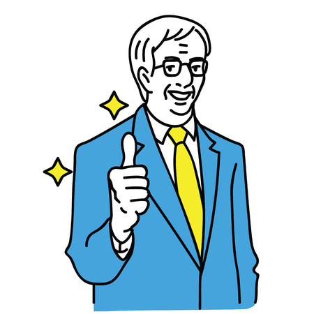 Vector illustration character portrait of senior businessman, manager, leader, boss, politician giving thumb up. Outline, linear, thin line art, hand drawn sketch design.